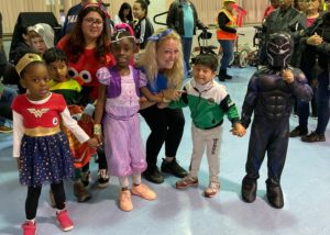 Students celebrate halloween.
