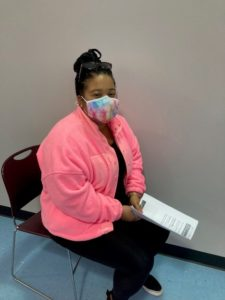 """Shaina Bills, a Teacher's Assistant at the Education Center, came with her mother employee Pam Bills, a Residential Manager at AHRC. Shaina noted she wanted the vaccine because she """"wanted to protect her daughter and the children she works with."""""""
